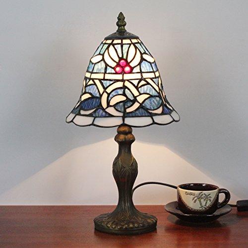 Gweat 8-Zoll-Blau Mittelmeer Stil mit weißen Rattan Tabelle Tiffany Tischlampe Nachttischlampe Schreibtischlampe Kinderlampe