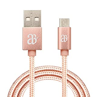 Super Fast Charging Micro USB 1M, 2M, 3M Charger Data Sync Cable for Samsung Galaxy S5 S6 S7 Edge, Nexus, Kindle, HTC, LG, Sony, PS4 Controller, Micro with 5 Pin microUSB male connector [RoseGold2M]