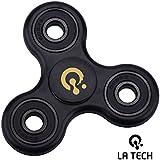 LA TECH - Tri Fidget Spinner de Dedo para Niños Adultos ADHDs Fidget Toy tipo Spinner Tri de Spinner Fidget juguete con híbrida de cerámica y acero Almacenamiento estrés Reducer - Ideal para Add TDAH miedo y autismo adultos niños - Blanco (Negro)