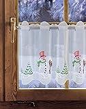 Bestickte Scheibengardine Schneemann 37cm / 55cm hoch Plauener Spitze ® Weihnachtsdeko / Winterdeko