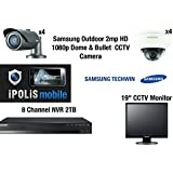 "Samsung 8 Camera CCTV Kit - Full HD 1080p 4 Dome & 4 Bullet externe 2MP avec 8 CH NVR 2TB Mobile Viewing et 19 ""CCTV Monitor"