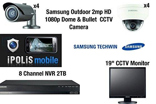 "Preisvergleich Produktbild Samsung 8 Kamera CCTV Kit - Full HD 1080p 4 Dome & 4 Bullet External 2MP mit 8 CH NVR 2TB Mobile Viewing & 19 ""CCTV Monitor"