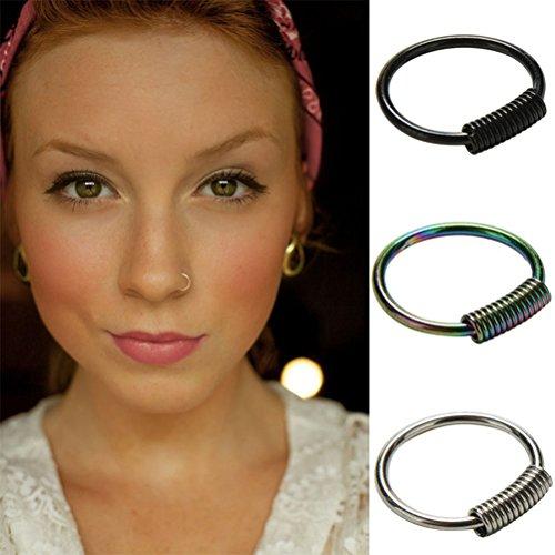 sevenmye 3PCS Nase Hoop Ring Ohrring Body Piercing Ohrstecker Schmuck