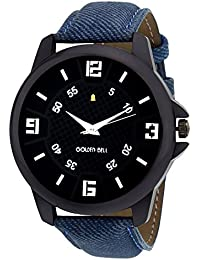 Golden Bell Original Black Dial Blue Denim Strap Analog Wrist Watch For Men - GB-644