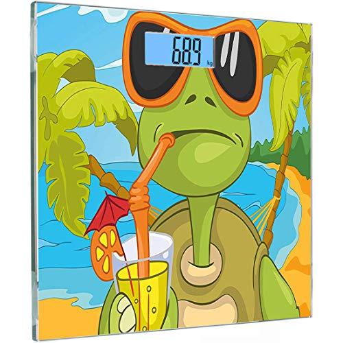 Ultraflache, hochpräzise Sensoren Digitale Personenwaage Turtle Gehärtetes Glas Personenwaage, Coole Meeresschildkröte mit Sonnenbrille Cocktail am Strand Cartoon, Hintergrundbeleuchtung