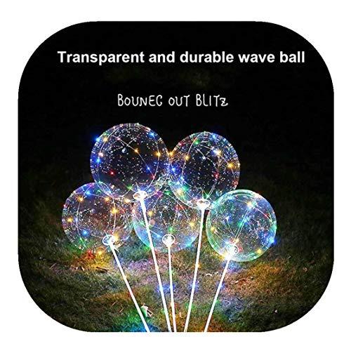 Happy Event Wiederverwendbarer leuchtender geführter Ballon | Transparente Runde Blase Dekoration Party (C)