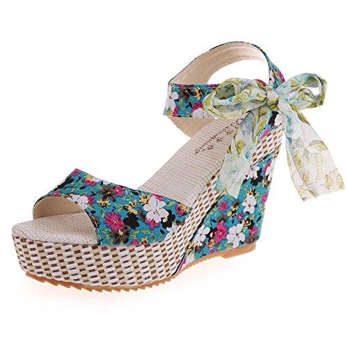 Damen Flip Flops, Xinan Sommer Plateauschuhe Holz Damen Sandalen Clog Holz Pantoffeln Schuhe (37, Grün 2) T-strap Womens Chunky Heels