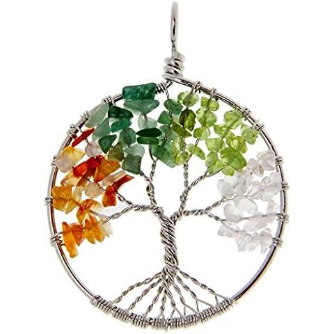 Árbol De La Vida Cura Cristalina Del Abrigo Del Alambre Piedra Preciosa Natural Fit Colgante, Collar