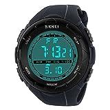 SunJas 5ATM impermeabile Sport orologio da polso Fashion Men LCD Digital cronometro cronografo Data Allarme Sport Orologio da polso in gomma, grigio