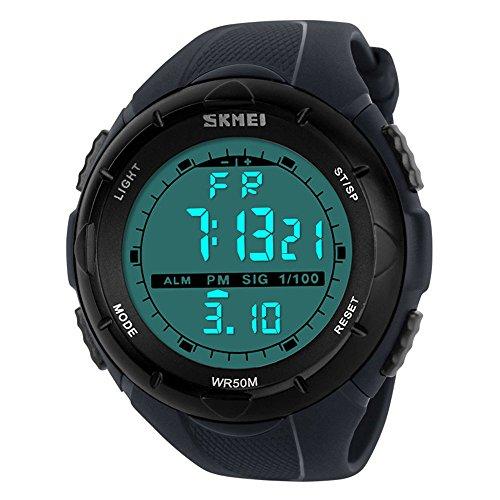 SunJas 5ATM Wasserdicht Sport Armbanduhr Fashion Men LCD Digital Stoppuhr Chronograph Datum Alarm Gummi-Sport-Armbanduhr ( Grau)