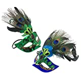 Vejaoo 2PCS Feder Maske Kostüm Halloween Masquerade Karneval Party Maske für Erwachsene VJ005 (1pcs Blue+1pcs Green)