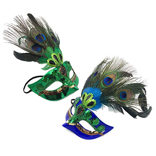 Party Kostüm Masquerade - BLEVET 2PCS Feder Maske Kostüm Halloween Masquerade Party Maske IE040 (1PCS Blue+1PCS Green)