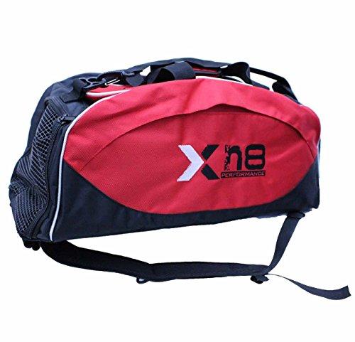 XN8Sporttasche / Tragetasche, kann als Rucksack getragen werden, Schwarz / Rot (Mesh-sporttasche Boxing)