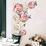 Tophappy Wall Stickers Fiori Grandi Fiore di Peonia Adesivi Murali Bianco Rosa Adesivi Murali Camera da Letto Soggiorno Adesivi da Parete Removibili Stickers Murali/Decorazione Murale