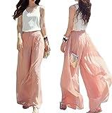CLOOM Pantaloni a vita bassa lunghi in vita da donna con ampia gamba in chiffon a vita alta (Rosa, 1PC)