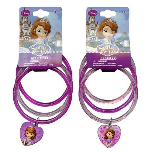 Disney Princess Sofia the First Glitter Bangle Bracelets with Heart Charm - Assorted Styles by Disney