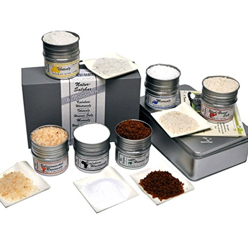 direct&friendly 6 Kontinente Salzbar Geschenkset mit unterschiedlichen Natursalzen aus aller Welt - Tibetsalz, Rosensalz, Utah Sweet Salt, Meersalz, Rotes Hawaii Salz, Kalahari Wüstensalz