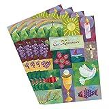 4er Set Glückwunschkarten zur Kommunion von Aurélie Blanz Motiv Symbole