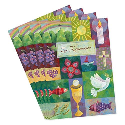 Vier Karten zur Kommunion, 4er Set, Kommunion Karten mit Collage aus Taube, Kerze, Fisch, Boot, Kelch und Kreuz. Glückwunsch, Kommunionkarten, Einladung, edel