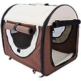 PawHut D1-0101 faltbare Transportbox für Haustier, M, kaffeebraun/creme