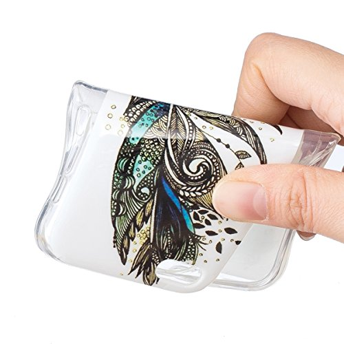iPhone 5C Hülle,SainCat iPhone 5C Silikon Hülle Ultradünn Weich Transparent Handyhülle Muster Gel Leuchtende Nacht Schutzhülle [Kratzfeste, Scratch-Resistant] Ultra Slim Dünn Kristall Handytasche Weic Leuchtende Nacht-Feder