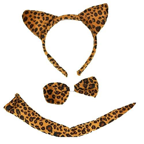 nd Bowtie Tail 3pc Costume for Children Halloween or Party (Braun) (Leopard Tail Kostüm)