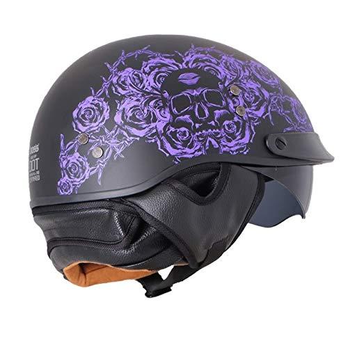 Motorradhelm Retro Motorrad Fiberglas Casco Motorcross Innenvisier Chopper Integralhelme, Purple Skull-1, S