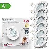 Faretti LED ad incasso orientabili, set da 6, include 6 lampadine GU10 da 3W, plafoniere da soffitto e per l'illuminazione da interno, luci rotonde, corpo metallo color bianco 230V IP23