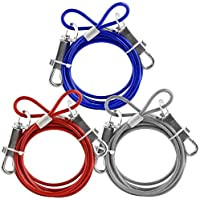 6 ft metal revestido de PVC Cable Tie-Out perro mascota jardín azul, color rojo, color plateado