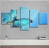 GLORIOUS.YY Leinwandbilder Blaue Schmetterlingsblume Wandbild Vlies Leinwand Bild Wandbilder Wohnzimmer Deko Kunstdrucke 5 Teilig - Fertig Zum Aufhängen 150X80Cm(A)