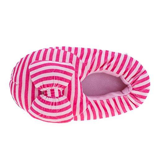 Mesdames Casual Chaussons d'intérieur Maison Cartoon Chaussons en coton rose rayé