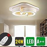 HG® 24W LED Deckenleuchte IP44 Badezimmer geeignet Leuchte Flur Dimmbar Fernbedienung eckig Innenlampe