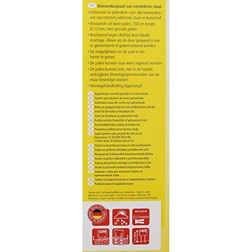 BURG-WÄCHTER Briefkasten-Ständer  Universal 150 Si, bestehend aus 2 Rohren, verzinkter Stahl, silber, 150 x 3,2 x 3,2 cm - 4