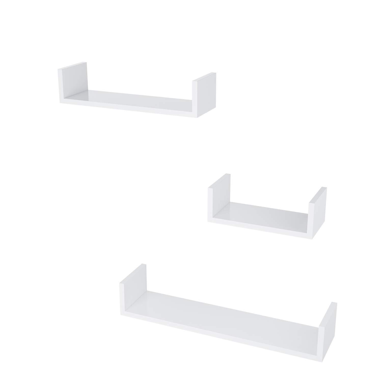 Buyi-World Mensola a Muro Set di 3 Mensole Porta Oggetti da Parete Bianco Supporto in MDF Scaffale Libreria Organizzatore di CD Libri Chiavi da Salotto/Studio/Ufficio/Corridoio/Cucina/Bagno