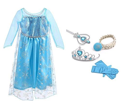 Vicloon Ice Queen Prinzessin Kostüm Kinder Deluxe Fancy Blaues Kleid,Accessoires und Schuhe für Mädchen, Weihnachten Verkleidung Karneval Party Halloween (Elsa Halloween)
