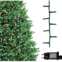 Luces de árbol Luces de de 500 colores LED Luces de cadena de Navidad para uso en interiores y exteriores 25 m / 82 pies Longitud de encendido con cable de conexión de VERDE