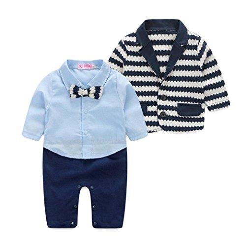 Culater® i neonati a strisce signori l'insieme dei vestiti giacca sportiva + vestito pagliaccetto (90)