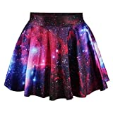 Yodensity Damen Glänzende Galaxie Minirock Drucken Sternenhimmel Dehnbar Ausgeweiteten Falten Sommerkleid