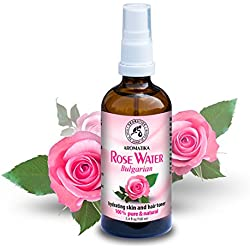 Eau de Rose 100ml - Rosa Damascena - Bulgarie - 100% Pur & Naturelle - Spray Tonifiant pour la Peau - Cheveux - Visage - Corps - pour Tous les Types de Peaux - Anti-Âge Soins de Peau - Sans Alcool