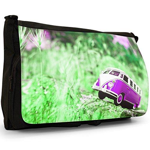Camper Van Scene–Borsa Tracolla Tela Nera Grande Scuola/Borsa Per Laptop Purple Camper Van Scene