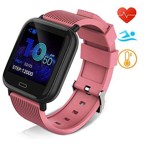 Huyeta Smart Watch mit Pulsmesser Sport Uhr Smart Uhr Wasserdicht Fitness Tracker Aktivitätstracker Pulsuhren mit Kalorienzähler Schlafmonitor,Kamera,SMS für Damen Herren für IOS Android (Rosa)