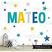 StarStick - Vinilos niño con nombre personalizado - Combinación Mostaza nombre con estrellas