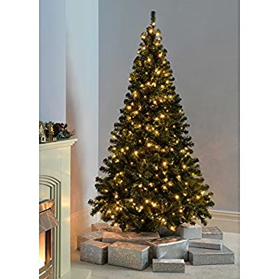 Pre-Lit Multi-Function Spruce Christmas Tree Warm White LED Lights/ 8 Setting Controller/