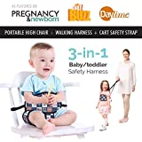 Portable High Chair By Lucky Baby. 3-in-1 Toddler & Baby Harness + Space Saver High Chair + Grocery Cart Safety Strap. The Only Baby Accessory You Need! Perfect For Restaurants/ Travel. Patriot