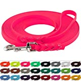 LENNIE BioThane Schleppleine 16 mm breit, 25 Farben/Neon Pink, 1-30 Meter / 2 m, Handschlaufe, geflochten