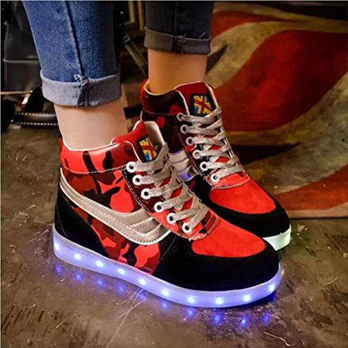 Damen comauflage hohe Spitze LED-helle Schuhe Art und Weise synthetische lederne flache Schuhe sieben Farben ändern und elf Arten des blinkenden Modus , Red , 38 - Pumpe-basketball-schuh