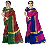 Art Decor Sarees Cotton Saree with Blouse Piece (Pack of 2) (Ashi Combos_PeachBlack&BlackRed_Free Size)