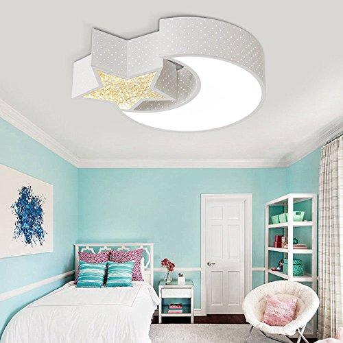 Style home 24W Kinderlampe LED Deckenlampe Deckenleuchte mit TüV Certifizierter Trafo voll dimmbar mit Fernbedienung Mond mit Stern