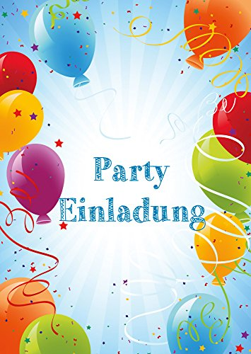 """Preisvergleich Produktbild """"PARTY-EINLADUNGEN"""": Einladungskarten-Set (6 Klappkarten + Umschläge) mit bunten Luftballons (Nr. 10656) von EDITION COLIBRI"""