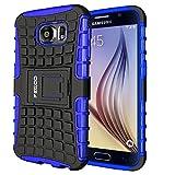 Galaxy S6 Hülle,Pegoo Schutzhülle Dual Layer Hybrid Harte Rüstung Handyhülle Drop Resistance Handys Schutz Hülle mit Anti-Kratz für Samsung Galaxy S6 (Blau)